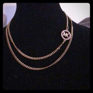 MK logo crystal paved necklace on gold chain NEW